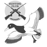 Vintage label with a duck, weapons for lucky hunting club. Vector Royalty Free Stock Photo