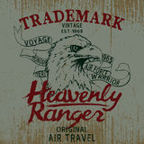 Vintage label with eagle. And ribbon .Grunge effect Royalty Free Stock Photos