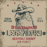 Vintage label with eagle-sheriff Stock Image