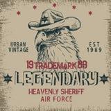 Vintage label with eagle-sheriff. Grunge effect.Textile design Stock Image