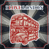 Vintage label with English bus on the grunge background. Retro poster in sketch style ' I love lond. Vintage label with English bus on the grunge background Royalty Free Stock Image