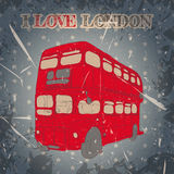 Vintage label with English bus on the grunge background. Retro poster in sketch style ' I love lond. Vintage label with English bus on the grunge background Stock Photo