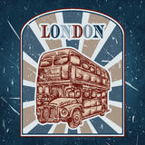 Vintage label with English bus on the grunge background. Retro poster in sketch style ' I love lond. Vintage label with English bus on the grunge background Stock Photography