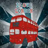 Vintage label with English bus on the grunge background. Retro poster in sketch style ' I love lond Stock Photos