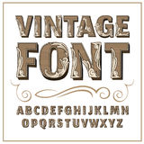 Vintage label font. Alcogol label style. Royalty Free Stock Image