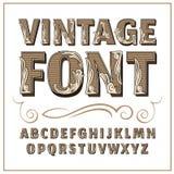 Vintage label font. Alcogol label style. Vintage label font. Alcogol label style with vintage ornament royalty free stock image