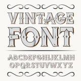 Vintage label font. Alcogol label style. Vintage label font. Alcogol label style with vintage ornament stock photo