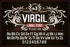 Vintage label font. Alcohol label style. Stock Photos