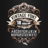 Vintage label font. Cognac label style. Vintage label font. Cognac label style with vintage ornament Vector Illustration