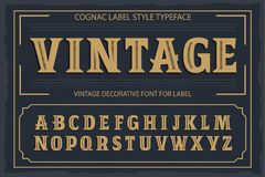 Vintage label font. Cognac label style. Royalty Free Stock Photos