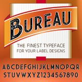 Vintage Label Font with decorative shadow. Retro whiskey fine label alphabet with decorative elements Royalty Free Stock Images