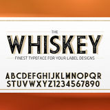 Vintage Label Font with decorative shadow. Retro whiskey fine label alphabet with decorative elements Stock Photography