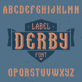 Vintage label font named Derby. Good to use in any creative labels Royalty Free Stock Photography