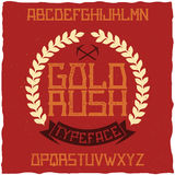 Vintage label font named Gold Rush. Royalty Free Stock Images
