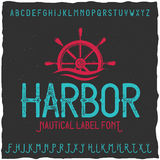 Vintage label font named Harbor. Good to use in any creative labels Stock Photography