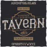 Vintage label font named Tavern. Royalty Free Stock Photo
