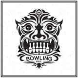 Vintage Label in the form of a totem mask, a bowling house or to the bowling club. Stock Photos