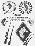 Vintage label with a fox, weapons for lucky hunting club. Illustration Stock Photo