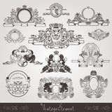 Vintage label and frame from pattern with animals and plant Royalty Free Stock Photos