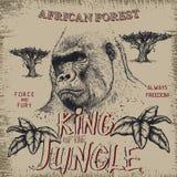Vintage label with gorilla. Grunge effect.Textile design Stock Photos