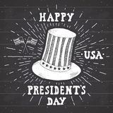 Vintage label, Hand drawn american cylinder hat, Happy President Day greeting card, grunge textured retro badge, typography design Stock Image
