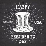 Vintage label, Hand drawn american cylinder hat, Happy President Day greeting card, grunge textured retro badge, typography design Royalty Free Stock Photography