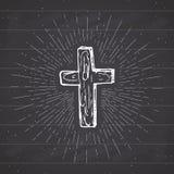 Vintage label, Hand drawn Christian cross, religious sign, crucifix symbol grunge textured retro badge, typography design t-shirt. Print, vector illustration on royalty free illustration