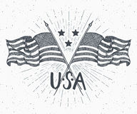 Vintage label, Hand drawn crossed USA flags, Happy Independence Day, fourth of july celebration, greeting card, grunge textured re. Tro badge, typography design Royalty Free Stock Photos