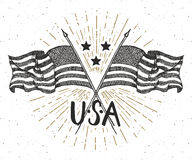 Vintage label, Hand drawn crossed USA flags, Happy Independence Day, fourth of july celebration, greeting card, grunge textured re. Tro badge, typography design Stock Image