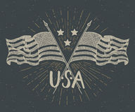 Vintage label, Hand drawn crossed USA flags, Happy Independence Day, fourth of july celebration, greeting card, grunge textured re. Tro badge, typography design Stock Photos