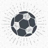 Vintage label, Hand drawn Football, soccer ball sketch, grunge textured retro badge, typography design t-shirt print, vector  Stock Image