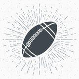 Vintage label, Hand drawn Football, soccer ball sketch, grunge textured retro badge, typography design t-shirt print, vector illus Stock Photography