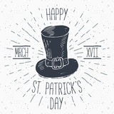 Vintage label, Hand drawn leprechaun hat, Happy Saint Patricks Day greeting card, grunge textured retro badge, typography design v Stock Photography