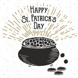 Vintage label, Hand drawn leprechauns pot of gold coins, Happy Saint Patricks Day greeting card, grunge textured retro badge, typo Royalty Free Stock Images