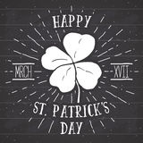Vintage label, Hand drawn lucky four leaf clover, Happy Saint Patricks Day greeting card, grunge textured retro badge, typography vector illustration