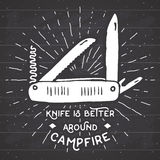 Vintage label, Hand drawn Multifunctional pocket knife, grunge textured hiking and camping equipment tool, retro badge or T-shirt Stock Photo