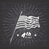 Vintage label, Hand drawn USA flag, Happy Independence Day, fourth of july celebration, greeting card, grunge textured retro badge. Typography design vector Royalty Free Stock Photo