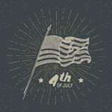 Vintage label, Hand drawn USA flag, Happy Independence Day, fourth of july celebration, greeting card, grunge textured retro badge. Typography design vector Stock Photo