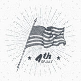 Vintage label, Hand drawn USA flag, Happy Independence Day, fourth of july celebration, greeting card, grunge textured retro badge. Typography design vector Stock Images