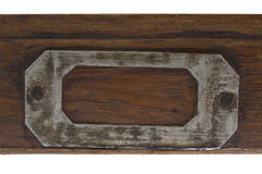 Vintage label holder. On front of flat, wooden drawer )old typesetter case Royalty Free Stock Photography