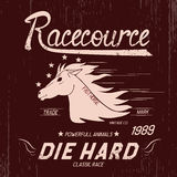 Vintage label with horse. Typography design for t-shirts Royalty Free Stock Images