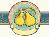 Pears vintage label illustration on old paper.Vect Royalty Free Stock Images