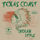 Vintage label with indian chief. Grunge effect.Typography design for t-shirts Stock Photos