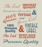 Vintage label inscriptions Royalty Free Stock Photos