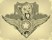 Vintage label with lion head Stock Photos