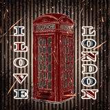 Vintage label with london telephone box on the grunge background. Retro poster in sketch style ' I Stock Photos