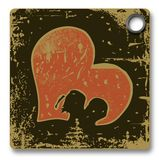 Vintage label - love - heart - silhouette Stock Photography