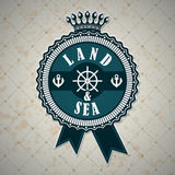 Vintage label with a nautical theme Stock Photo