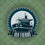 Vintage label with a nautical theme Stock Photos
