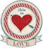 Vintage label on old paper texture with red heart. Love background.Vector illustration Stock Image